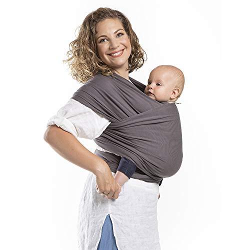 Boba Baby Wrap, Organic Dark Grey - das elastische Tragetuch aus weichem Sommersweat, sehr einfach zu binden, ideal für Neugeborene und Kleinkinder bis 16kg