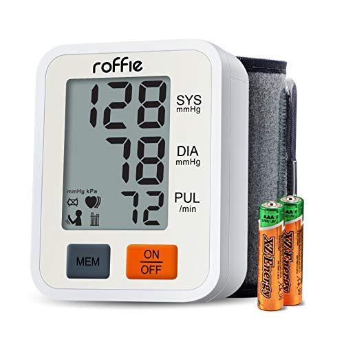 Tensiómetro de Muñeca, Roffie Monitor de presión sanguínea arterial Alta precisión y fiabilidad Gran , Detección de Pulso Irregular y De Movimiento (blanco)