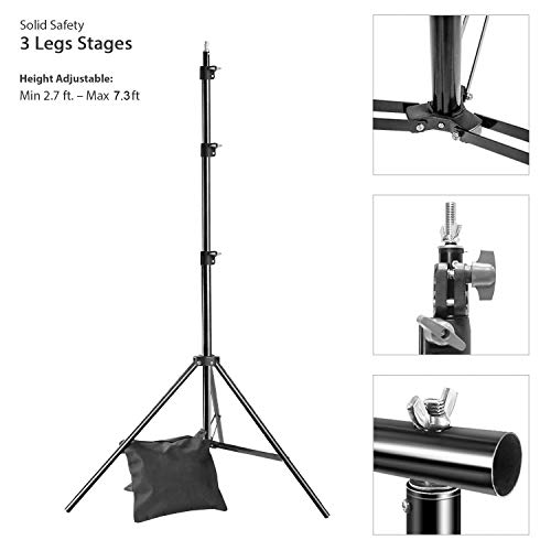 LimoStudio AGG2612 10x7.3 ft. Adjustable Photo Video Backdrop Muslin Stands, Background Support Kit, Accessories, Spring Clamp, Sand Bag, Carry Bag