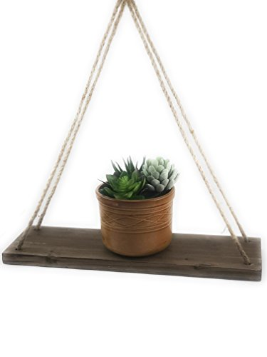 Be Polight 17-Inch Distressed Wood Hanging Swing Rope Floating Shelves, Set of 2, Brown