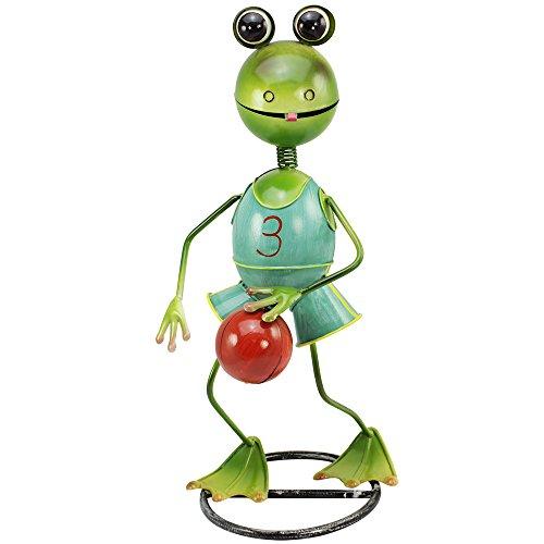 com-four® Figura Deco Rana con Baloncesto - Figura de jardín Hecha de Metal Pintado de Colores en diseño de Rana - 45x23x20cm (1 Pieza - Rana con Baloncesto)
