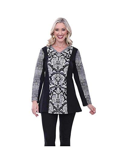Parsley & Sage Women's Maggie Black & White Knit Tunic (2X)