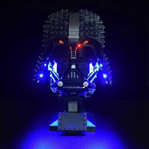 SESAY Custom Beleuchtung Licht Set für Lego Star Wars Darth-Vader Helm, Led Beleuchtungsset Kompatibel mit Lego 75304 (Ohne Lego Set)