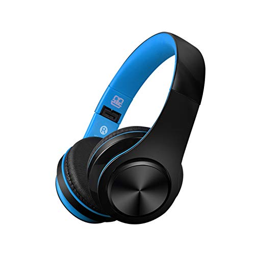 CIC Fone De Ouvido Dobrável Bluetooth on ear Microfone Atende Ligacao Cancelamento de Ruído e Som Stéreo Integrado e Suporte para Celulares, PC e TV, Preto e Azul