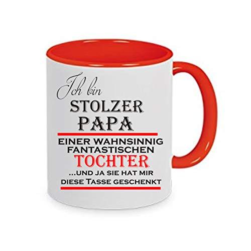Crealuxe Ich Bin stolzer Papa Einer wahnsinnig fantastischen Tochter und ja. - Kaffeetasse mit Motiv, Bedruckte Tasse mit Sprüchen oder Bildern