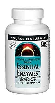 Source Naturals Essential Enzymes 500mg Bio-Aligned Multiple Enzyme Supplement Herbal Defense for Digestion, Gas, Constipation & Bloating Relief - Supports Immune System - 120 Vegetarian Capsules