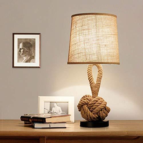 Metdek Lámpara de mesa LED de tela sintética, para salón, cafetería, dormitorio, lámpara de noche retro, cuerda de cáñamo, decoración del hogar, lámpara de escritorio