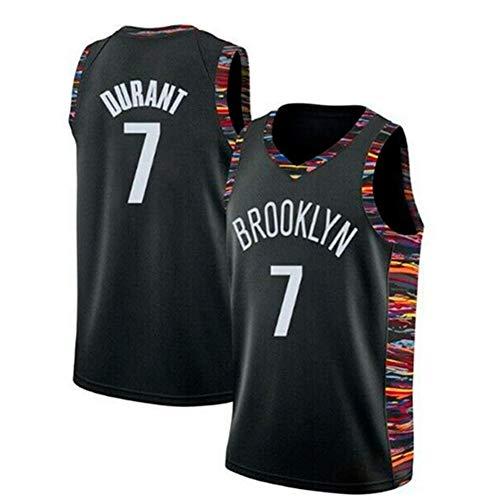 Uomo NBA Jersey -Kevin Durant # 7 Brooklyn Nets Black Gold Pallacanestro Maglietta Senza Maniche, Classica T-Shirt retrò Top, Mesh Traspirante Sportwear, Lavabile in Lavatrice,XL