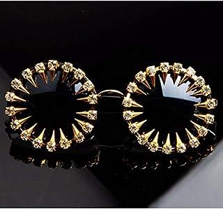 TYJYY Sunglasses Lunettes De Soleil pour Hommes Rivet Steampunk Lunettes De Soleil Strass Rond Femmes Lunettes De Soleil U...