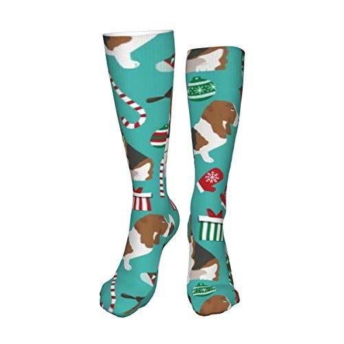 Calcetines unisex de muslo alto, diseño navideño de Basset Hound, calcetines largos de botas altas, calentadores de pierna alta, calcetines deportivos