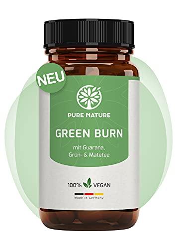 Pure Nature GREEN Burn Veganer Stoffwechsel Komplex mit Guarana, Grün- & Matatee I 100 Stark dosierte Kapseln für den Stoffwechsel I Für Frauen & Männer I Abnehmen