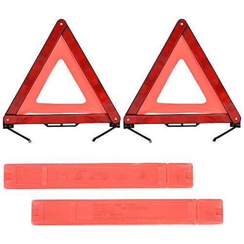 MIZOMOR Triángulo Coche 2 Piezas Señal Triángulo Reflectante de Advertencia Seguridad para Coche Emergencias Averías Accidentes de Tráfico Estacionamiento Nocturno
