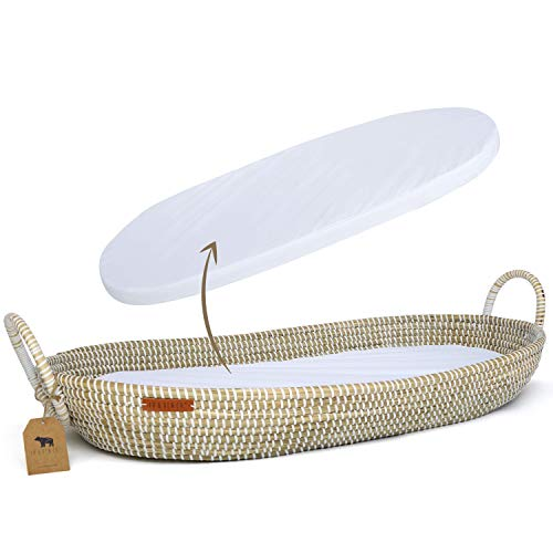 Lu & Ken Wicker Baby Changing Basket with Thick Pad & Waterproof Cover - Baby Changing Table Topper Moses Basket - Nursery Rattan Bassinet - Diaper Change Station - Woven Seagrass Dresser Topper Tray