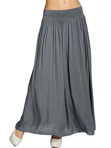 Caspar RO012 Leichter Langer Damen Sommerrock, Farbe:dunkelgrau, Größe:One Size