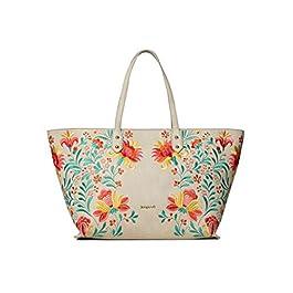 Desigual – Grand sac cabas ethnique femme en simili cuir avec broderie florale multicolore (20saxp86) taille 29,5 cm