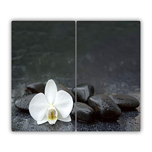 Tulup Vidrio Cubierta de la Cocina Cerámica Placa de inducción Placa Protectora Tabla de Cortar para Cocina Resistente al Calor - una Pieza 2x30x52 cm - Orquídea