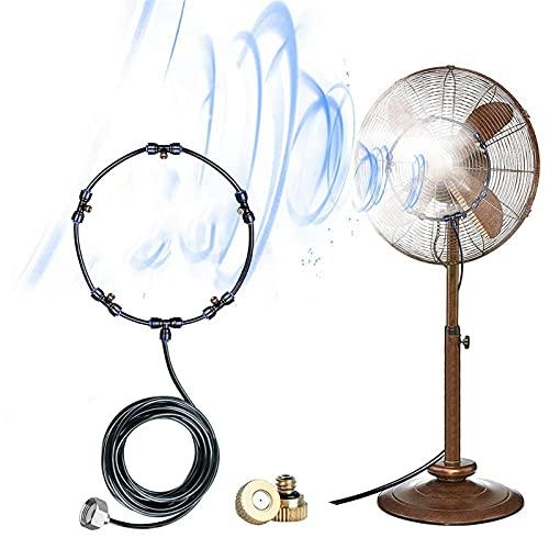 Gmjay Kit de Nebulización de Ventilador - Ventiladores para Enfriar al Aire Libre con 5 Boquillas de Nebulización Sistema de Nebulización de Agua para Patio Exterior y Patio Trasero
