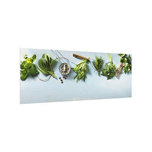 Bilderwelten Panel antisalpicaduras de Cristal - Bundled Herbs - Panorámico, Panel antisalpicaduras...