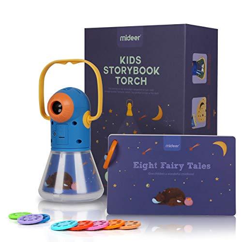 Multifunktional Kinder Projektor Taschenlampe, Gute - Nacht - Geschichte, Zeitschaltuhr Nachtlicht, Taschenlampe Projektionslampe mit 8 Märchen 64 Folien für Kleinkind Junge Mädchen