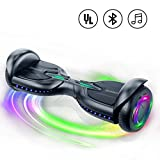 TOMOLOO Music-Rhythmed Hoverboard 6.5 inch Electric Scooter - UL2272 Certificated with Bluetooth Speaker LED Lights Kids and Adult Two-Wheel Self-Balancing Scooter (Black)