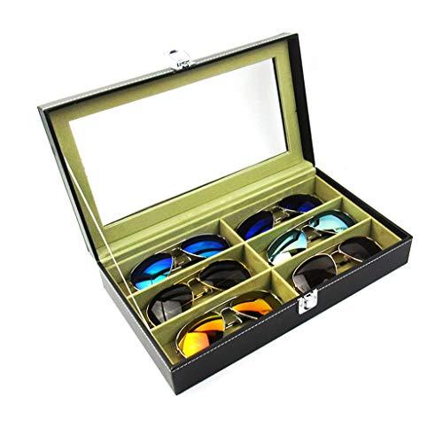 K&F-Glasses Schwarzes PU-Leder-Kasten-Grün-Innenraum 6 Schlitz-Glas-Sonnenbrille-Glas-Verkaufsmöbel-Speicher-Manager Collector JY