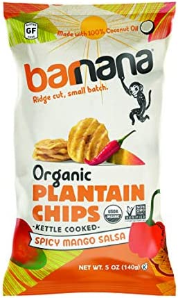 Barnana Organic Plantain Chips Spicy Mango Salsa 5 Ounce 8 Pack Plantains Salty Crunchy Thick product image