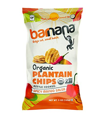 Barnana Organic Plantain Chips - Spicy Mango Salsa - 5 Ounce 8 Pack Plantains - Salty Crunchy Thick Sliced Snack - Best Chip For Your Everyday Life - Cooked in Premium Coconut Oil