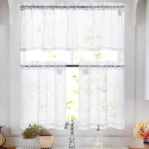 White Sheer Tiers Kitchen Floral Embroidered Semi Kitchen Tier Curtains Valance Set 24 inch Embroidery for Bathroom Rod Pocket,White