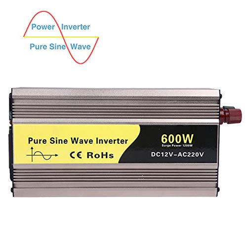 Pure Sine Wave Inverter 300W/500W/600W, with AC Outlet and USB Port, AC Car Charger, Aluminum Body, DC to AC Battery Charger, for Laptop, Pad, Tablet, Smartphone,600w,DC 48V to AC 220V