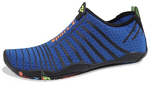 HEETA Water Sports Shoes for Women Men Quick Dry Aqua Socks Swim Barefoot Shoes for Beach Pool Surf Swim Yoga Blue_A 46#