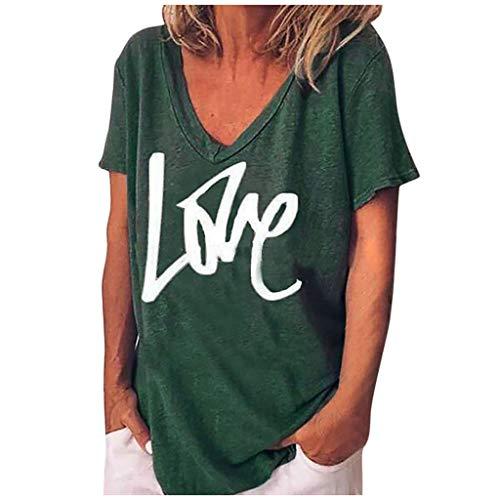 Kanpola Sommer Kurzarm T Shirt Damen V-Ausschnitt BeiläUfige Blusen Locker Sport Oberteile Basic Shirt Tops mit Aufdruck