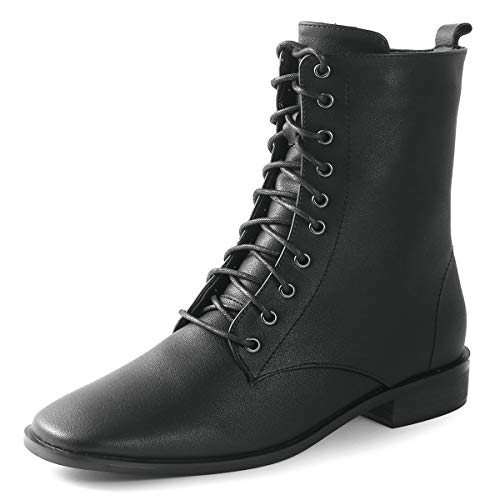 Ork Tree Womens Combat Boots Lace up Mid Calf Flat Ankle Booties for Winter Black