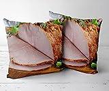 Fundas de Cojines Throw Pillow Case Funda de Cojines Decorativa para SofáJuego de 2 piezas-18 x18-Funda de cojín, Almohada Decorativa para sofá, Coche, Cama y decoración de sillas.-Jamón 1