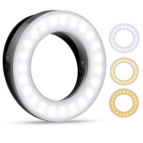 Criacr Selfie Licht, Selfie Ring Licht, Ringlicht für Handy, 40 LED Ringleuchte mit 3 Farben Einstellbare, Wiederaufladbare LED Ringlicht für Make-up, Selfie, YouTube-Video und Instagram (Schwarz)
