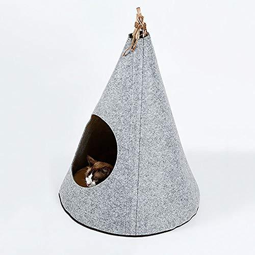 FXQIN Haustier Tipi, mit abnehmbarem Kissen, rutschfest, wegklappbar Haustier Zeltmöbel Katzenbett - Outdoor Camp Einfach auf- und abzubauen (grau)
