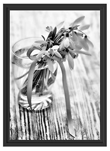 Picati Sneeuwbelletje met roze lint in schaduwvoegen fotolijst | kunstdruk op hoogwaardig galeriekarton | hoogwaardige afbeelding op canvas alternatief 55x40