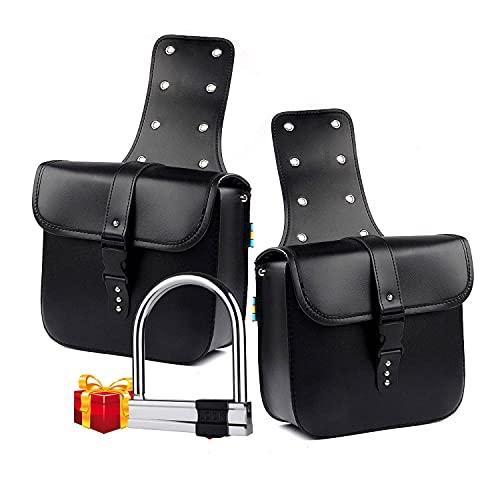 1 paio di borse laterali laterali in pelle PU impermeabile posteriore sedile da sella borsa da viaggio strumento coda bagagli nero