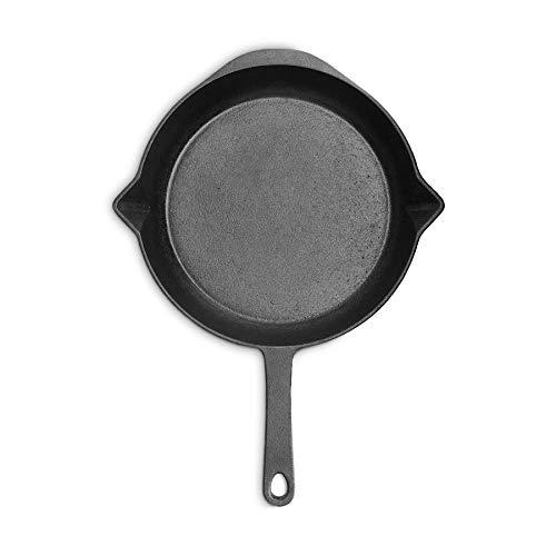 Burnhard Gusseisen-Pfanne 30 cm inkl. Griffschutz aus Leder, Bratpfanne, Grillpfanne für Gasgrill, Backofen und Induktion geeignet