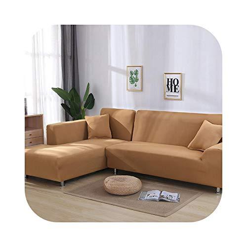 HCIUUI Grey Plain Color Elastic Stretch Sofa Cover Need Order 2 Piece Sofa Cover If L-Style Fundas Sofas con Chaise Longue Case for Sofa-Camel-3-seater 190-230 cm