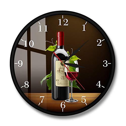 Cartel de borrachera de Bodega de Vino Tinto y Blanco Reloj de Pared de Cocina Moderno Botellas y Copas de Vino con Uvas Reloj de Pared de Taberna de Bar en casa-Marco de Metal