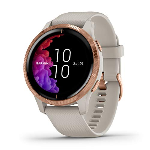 Garmin 010-02173-21 Venu, GPS Smartwatch with Bright Touchscreen Display, Features Music, Body Energy Monitoring, Animated Workouts, Pulse Ox Sensor and More, Rose Gold with Tan Band