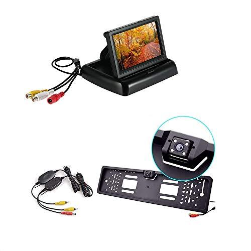 081 store - kit retromarcia wireless con monitor a scomparsa 4,3 pollici + telecamera con portatarga universale visione notturna + cavi wireless
