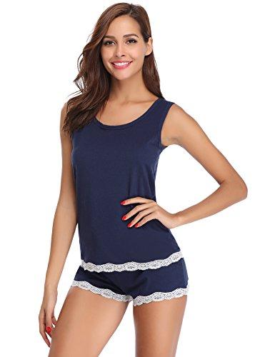 Hawiton Damen Schlafanzug Pyjama Kurz Baumwolle Nachtwäsche Sleepwear mit Spitze Tops und Shorts für Sommer (Blau-A Style, Small)