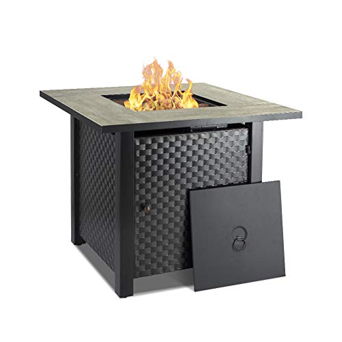 Camplux 30 in Propane Fire Pit Table, Outdoor Gas Fire Table with Cover & Lava Rock, Ceramic Tabletop, 50,000BTU Automatic Ignition, ETL Certification, Square Firepit 2-in-1 Functional