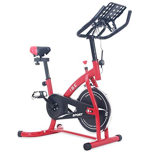 ISE Bicicleta Estática de Spinning con Sensor de Pulso, Ajustable Resistencia, Bicicleta para Fitness Profesional de Gimnasio Ejercicio con Gran Soporte Adecuado para iPad&Móvil, Rojo, SY-7804S