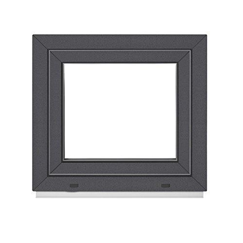 Kellerfenster PVC Fenster -BxH:60x40 cm DIN Links -2 Fach - innen weiß - außen Anthrazit - Dreh Kipp — Premium