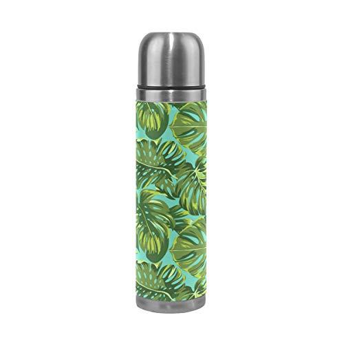 Emoya Bouteille isotherme en acier inoxydable Motif feuilles Vert tropical 0,5 l