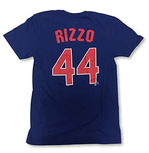 Majestic Chicago Cubs Anthony Rizzo #44 Player Name and Number Crew Neck Jersey T-Shirt (Medium)