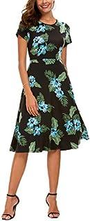 Urban CoCo Women's Floral Print Short Sleeve Flared Midi...
