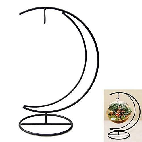 HO-TBO Pflanze Terrarium, Micro Landschaft Mond-Form Eisen-Halter Suspension Glasvase Schwarz Gestell Schwarz Gewächshäuser Gartenarbeit (Color : Black, Size : One Size)